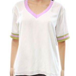 V Neck Casual Short Sleeve Top Blouse Large NWT